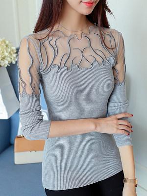 Round Neck Elegant Patchwork Long Sleeve t-shirt