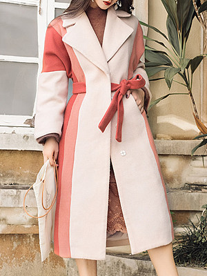 Vintage Women Color Matching Mid Length Overcoat gender:female, season:autumn,winter,spring, texture:woolen, sleeve_length:long sleeve, sleeve_type:regular sleeve, style:japan and south korea, collar_type:suit lapel collar, dress_occasion:daily, bust:125,clothing length:114,sleeve length:71.5,cuff circumference:38.5,