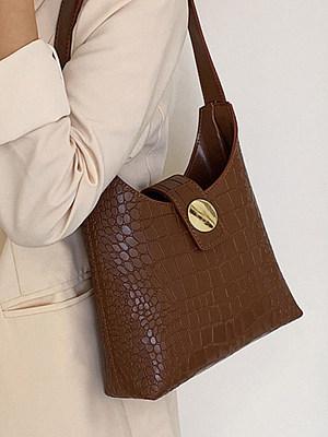 evecure's Vintage Solid Color Crocodile underarme Bag