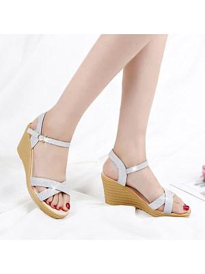 Fashion Women Belt Buckle Wedge Sandals