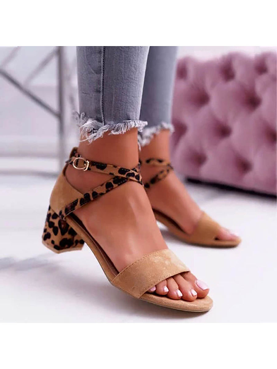 Women Fashion Leopard Patchwork Buckle Sandals