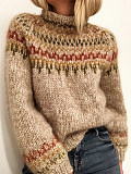 Image of High Neck Pullover Knit Long Sleeve Striped Sweater
