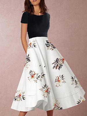 Round Neck Print Maxi Dress фото