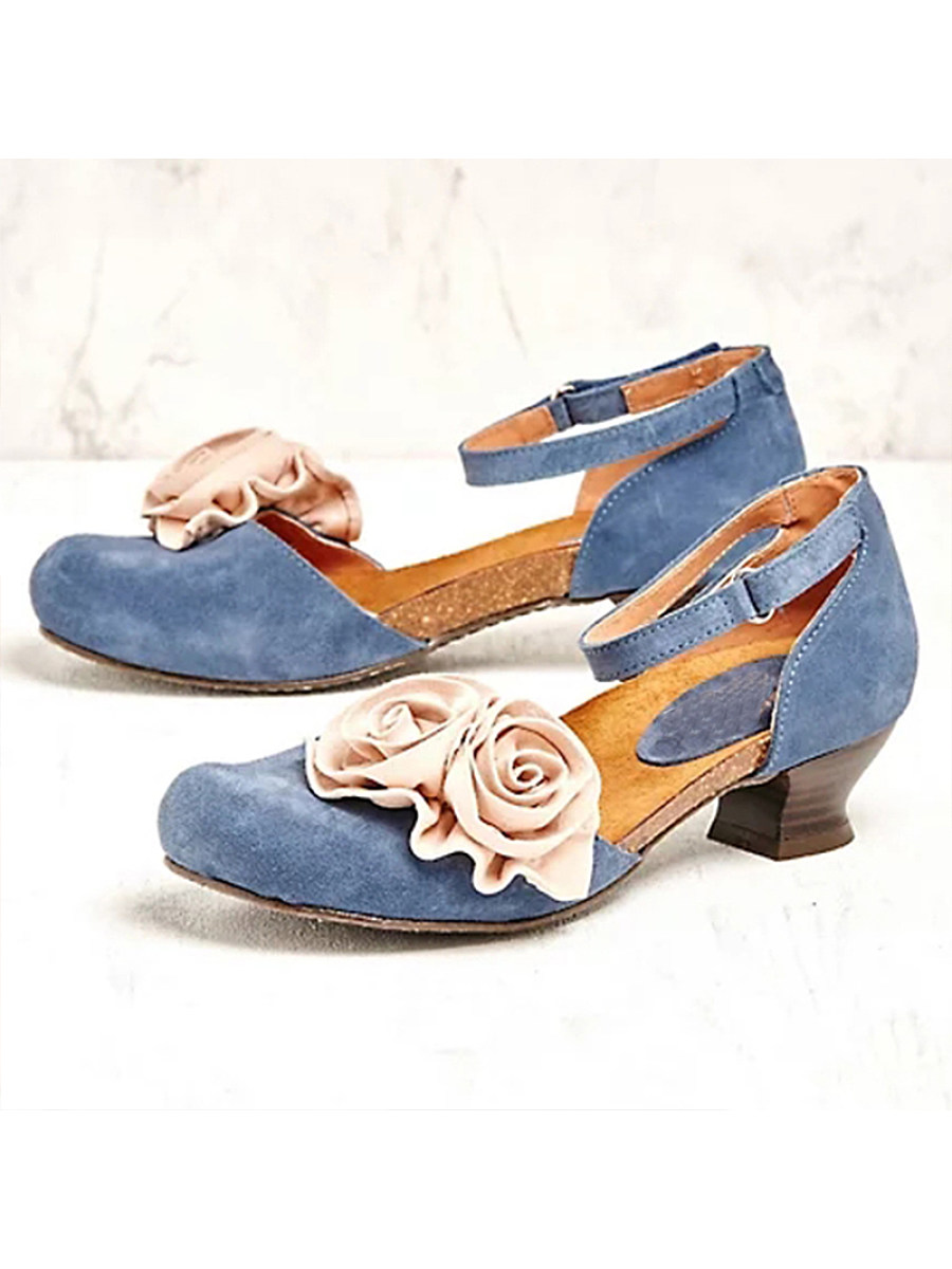 Women's floral decorative buckle sandals