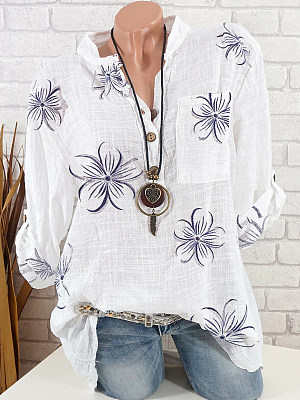 V Neck Loose Fitting Floral Printed Long Sleeve Blouse, 24771937