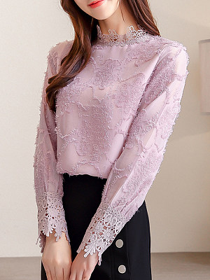 Band Collar Patchwork Lace Long Sleeve Blouse, 11213962