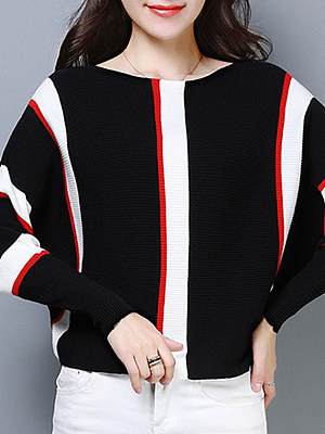Striped Batwing Sleeve Pullover