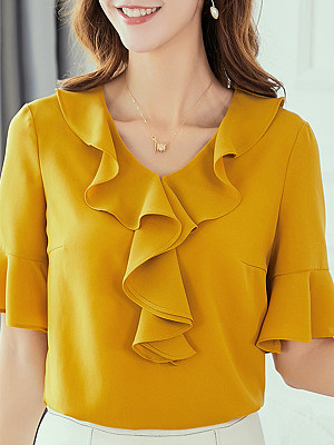 Round Neck Patchwork Plain Bell Sleeve Blouse, 11166847