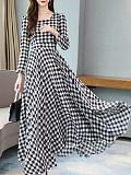 Image of Long Sleeve Plaid Dress