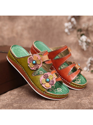 Women's retro platform flat slippers, 24434561