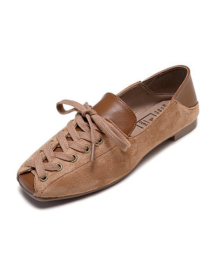 Square toe lace-up fashion two-way wear casual shoes, 25357110