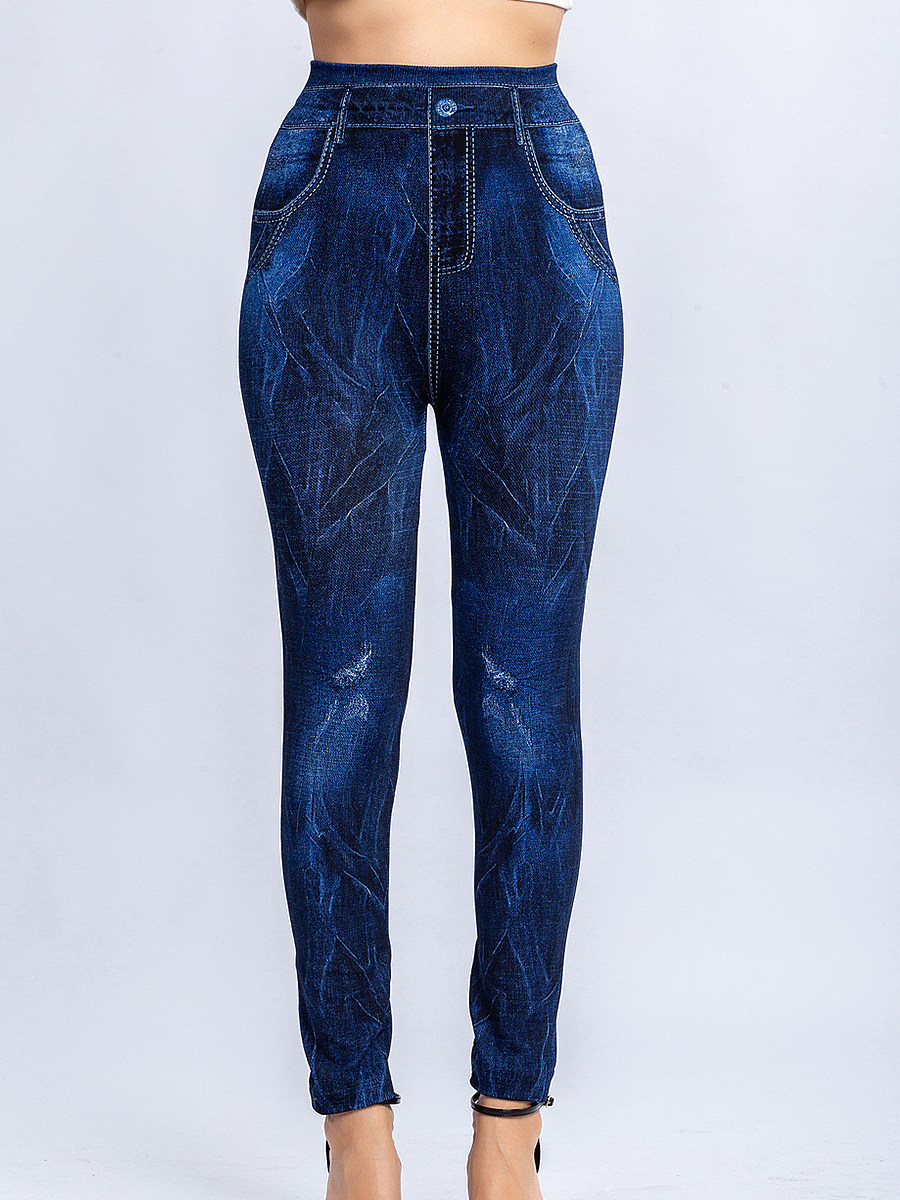 BerryLook Fashionable casual multicolor stretch slim imitation denim leggings