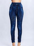 Image of Fashionable casual multicolor stretch slim imitation denim leggings