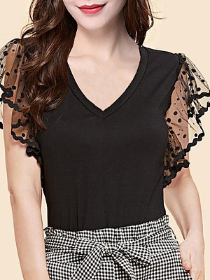 V Neck See-through Patchwork Short Sleeve T-shirt, 11183106