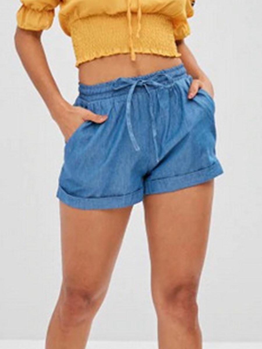 BerryLook Elastic high waist wide leg shorts loose casual shorts