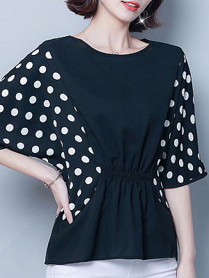 Round Neck Patchwork Dot Short Sleeve Blouse, 11059924