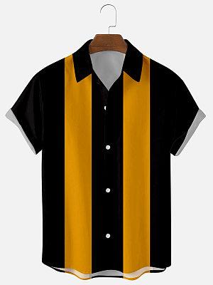Mens Yellow Striped Print Casual Shirts