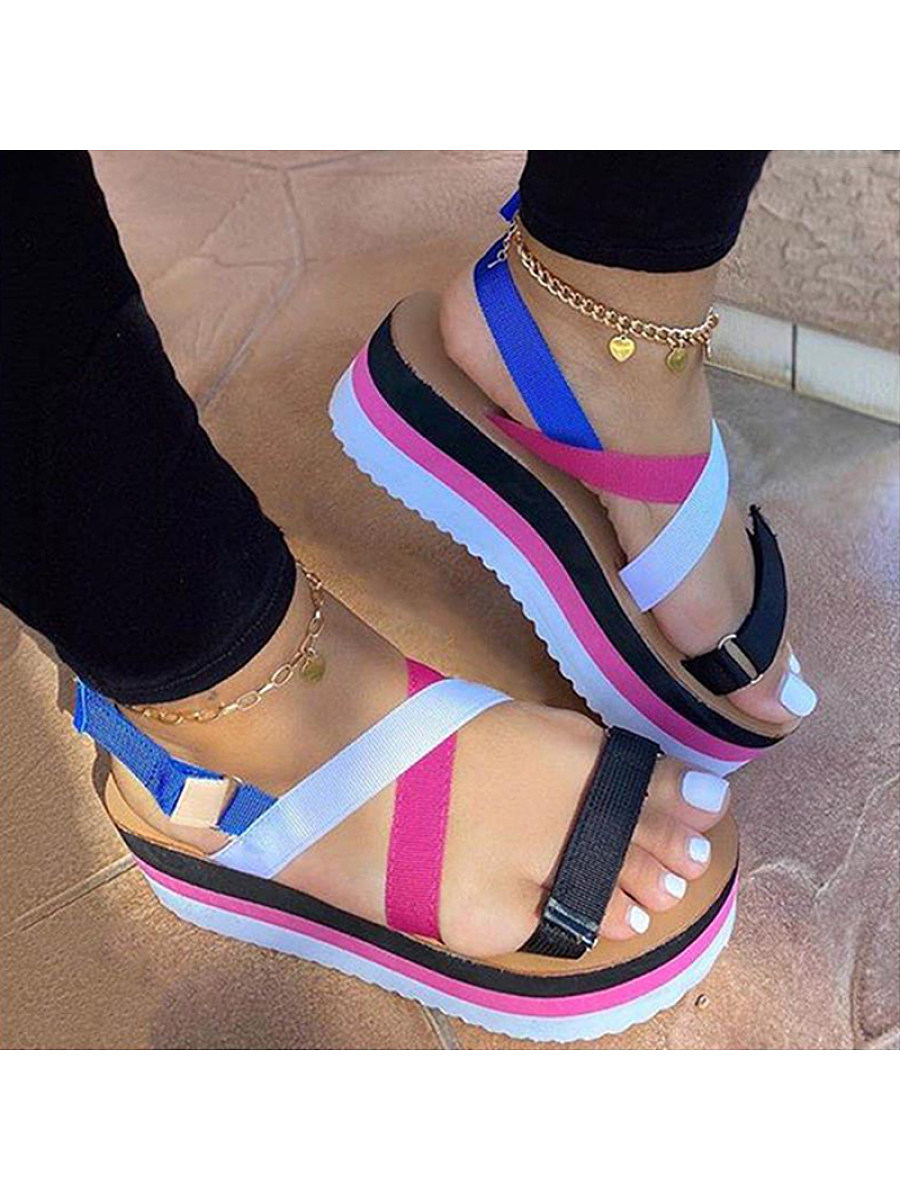 BerryLook Womens Rainbow Platform Velcro Beach Sandals
