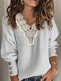 Image of Fashion V-Neck Lace Stitching Sweater