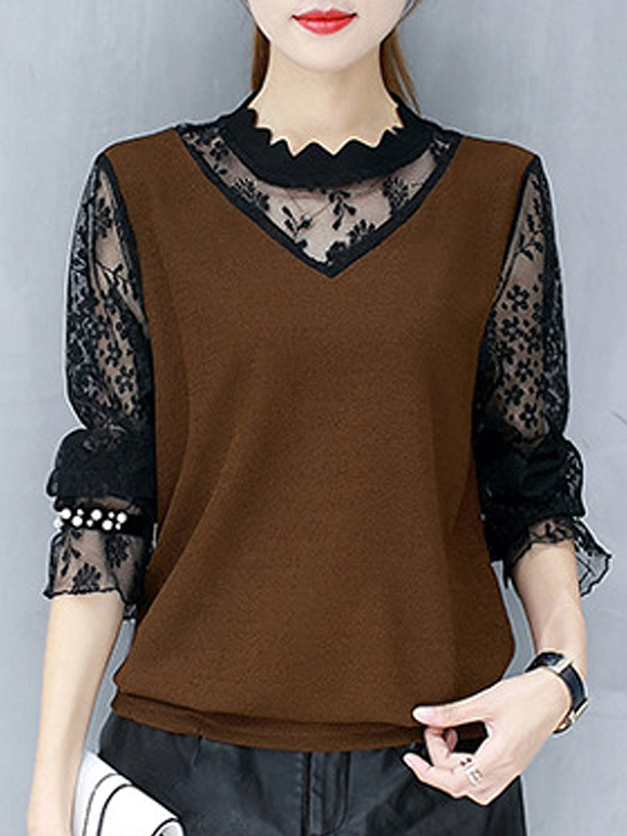 Band Collar Fake Two-piece lace Long Sleeve T-Shirt - from $18.95