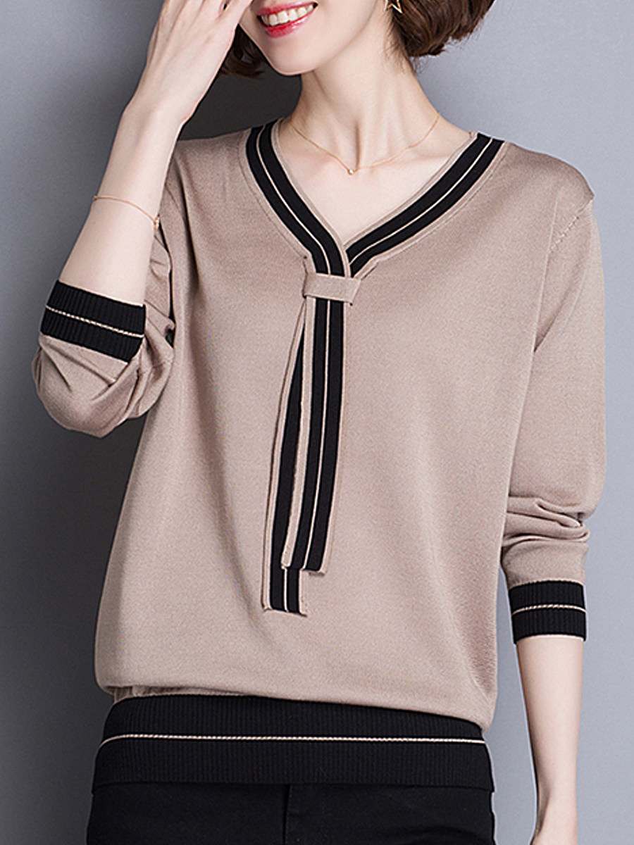 Casual V Neck Patchwork Long Sleeve Pullover Sweater - from $24.95