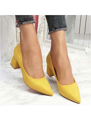 BERRYLOOK / Pointed suede thick heel women's high heels