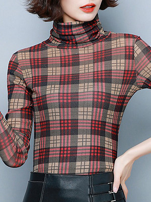 Heap Collar Elegant Plaid Long Sleeve T-Shirt, 11064815