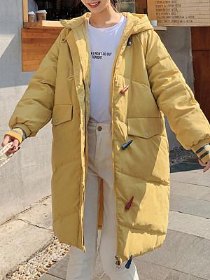 women college wind long buckle loose cotton coat, 10065011