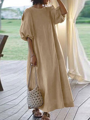 Berrylook Pure color cotton and linen slim dress online stores, clothes shopping near me, long sleeve maxi dress, floral maxi dress