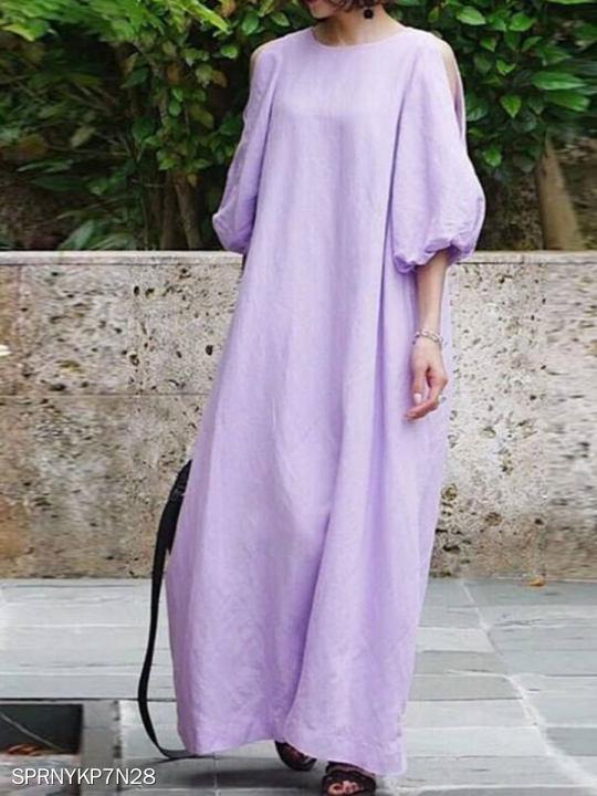 Pure color cotton and linen slim dress
