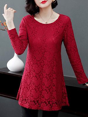 Round Neck Elegant Lace Long Sleeve T-Shirt, 10054925