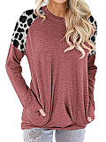 Image of Round Neck Leopard Print Long Sleeve T-shirt