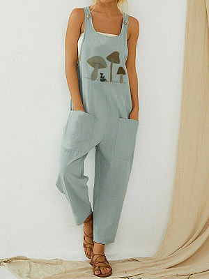 Casual Printed Sleeveless Pocket Button Jumpsuit, 27161437, BERRYLOOK  - buy with discount