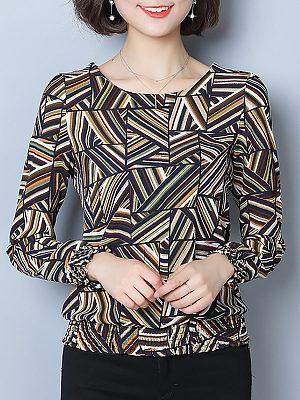 Round Neck Elegant Printed Long Sleeve T-Shirt, 10676093