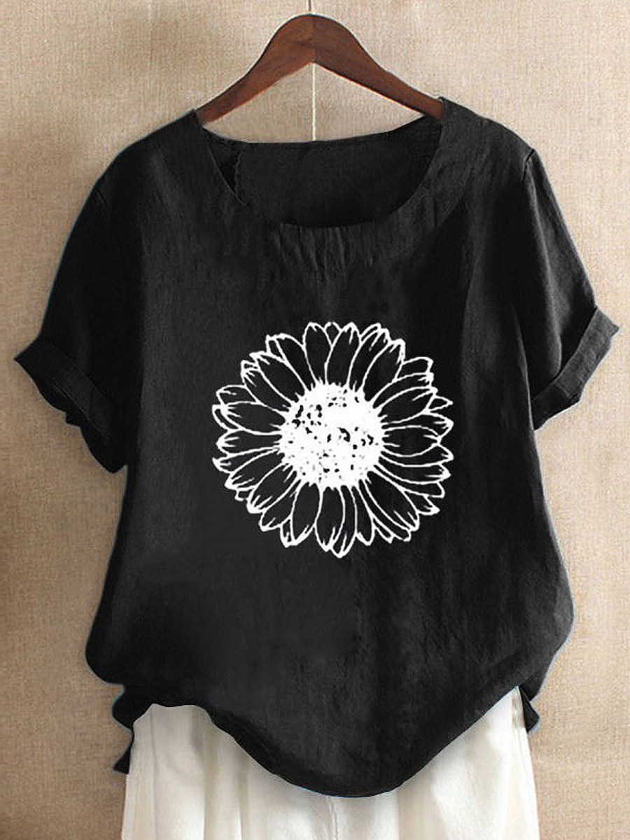 BerryLook Round Neck Flower Print Short Sleeve Linen T-shirt