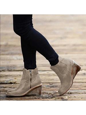 berrylook Women's round toe wedges boots
