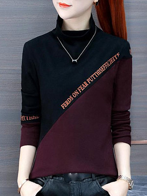 Round Neck Casual Color Block Long Sleeve T-Shirt, 10574388