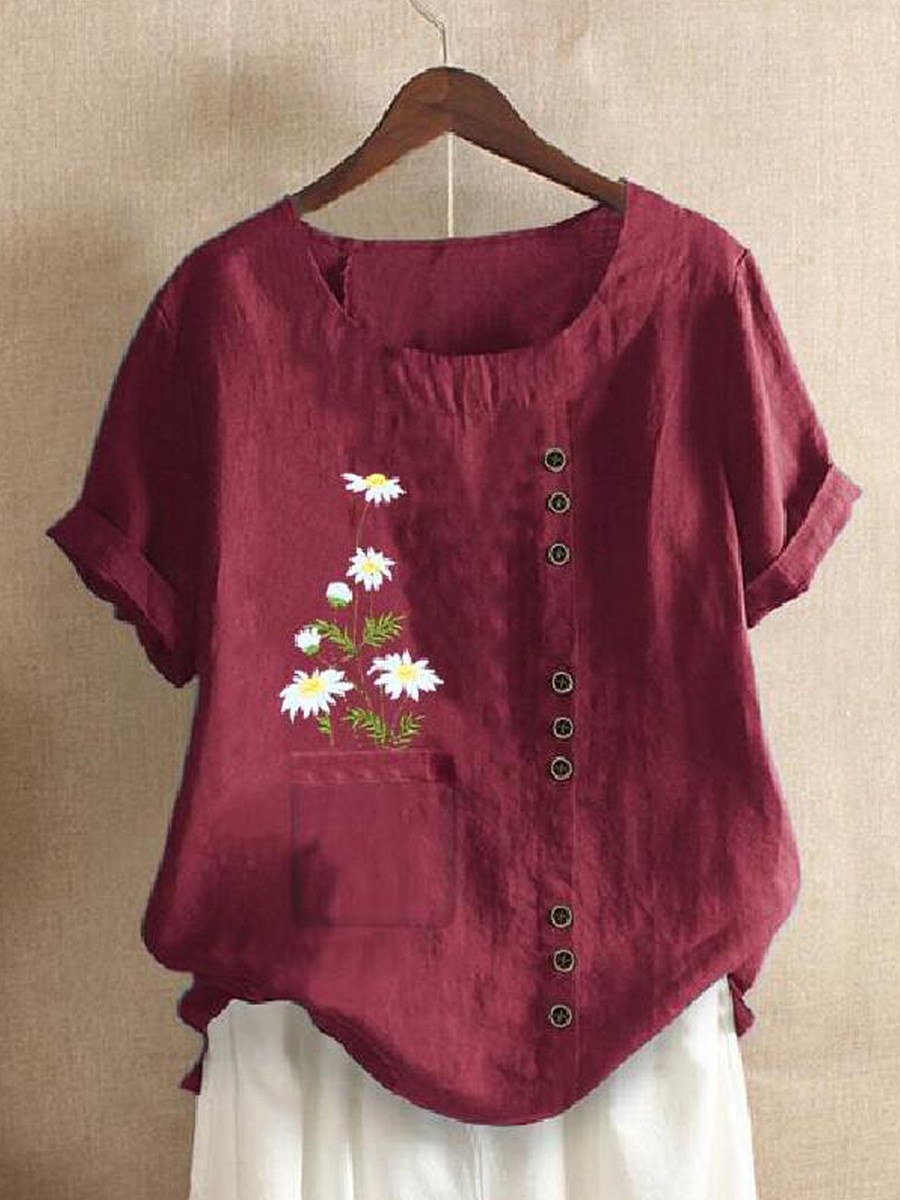 BerryLook Round Neck Daisy Print Short Sleeve Linen Blouse