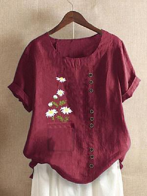 Round Neck Daisy Print Short Sleeve Linen Blouse фото