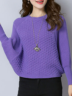 Round Neck Casual Plain Batwing Sleeve Knit Pullover