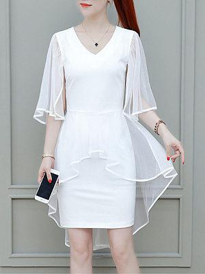 Mid-length slim chiffon dress