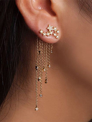 Shining Star Tassel Back Hanging Earrings