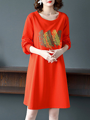 Berrylook Round Neck Long Sleeve Slim Embroidered Shift Dress online sale, online stores, sleeveless shift dress, floral shift dress