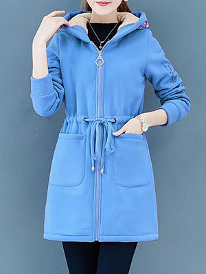 Women's Fashion Embroidered Long Lamb Fur Plus Velvet Thick Coat gender:female, season:autumn,winter,spring, texture:cotton, sleeve_length:long sleeve, style:japanese and korean style, collar_type:hat collar, dress_occasion:daily,vacation,leisure, bust:110,clothing length:82,shoulder width:41,