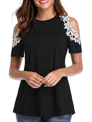 Round Neck Patchwork Lace Short Sleeve T-shirt фото