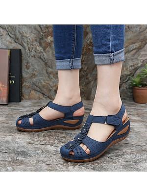 Round Toe Roman Velcro Comfortable Wedge Sandals, 23597355