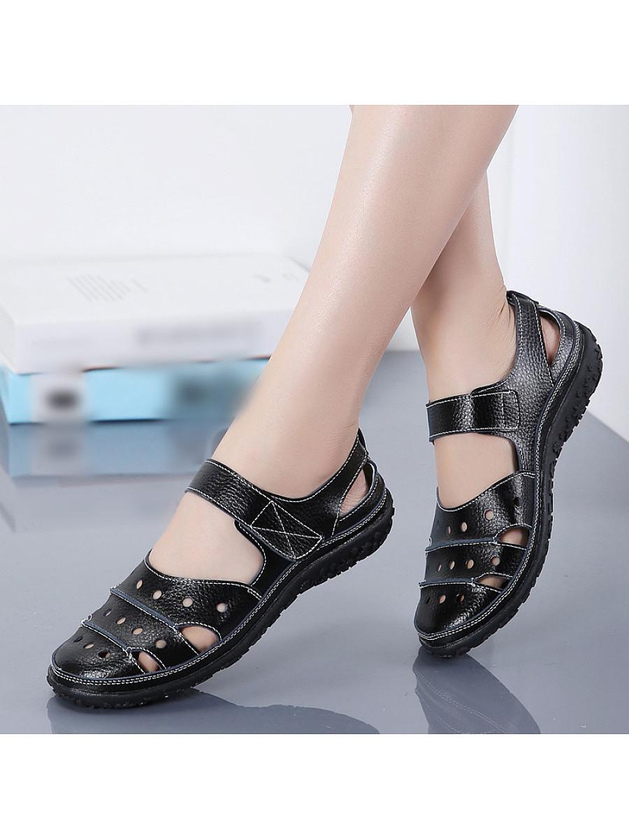 Casual hollow low-heel mother sandals