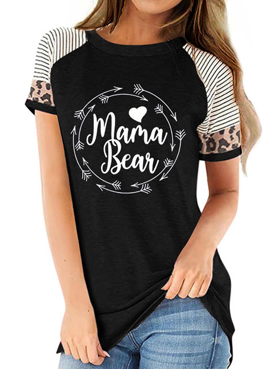 BerryLook Round Neck Letters Print Short Sleeve T-shirt