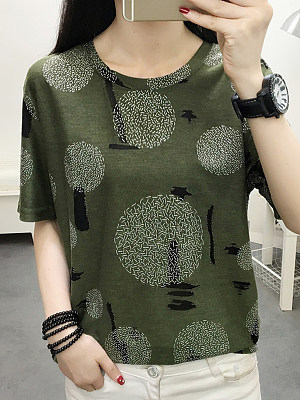 Round Neck Printed Short Sleeve T-shirt, 11317021