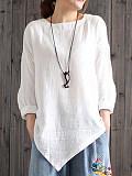 Round Neck Plain Three-quarter Sleeve Linen T-shirt